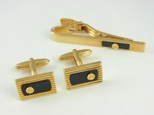 dunhill Gold Plated and Black Rectangle Cufflinks and Tiebar MINT