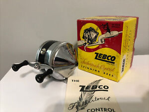 vintage ZEBCO 33 Spin Cast Fishing Reel, Early Model U.S.A. METAL FOOT & box