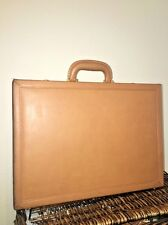 VINTAGE d'Hanis Handcrafted Tan Belting Leather - Suede Lined Briefcase Attache