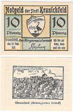 Germany 10 Pfennig 1921 Notgeld Kranichfeld UNC Uncirculated Banknote