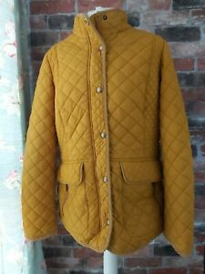 JOULES QUILTED MOREDALE  YELLOW OCHRE MUSTARD LINED WINTER COAT SIZE 14