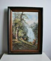 Kunstdruck - Landschafts-, Jagd- / Tierbild von Rudolf Bayer mit Wasserfall