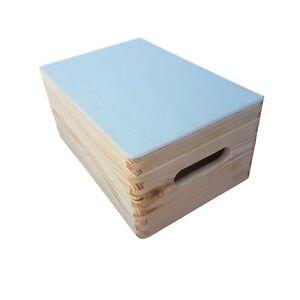 Wooden Trunk / Box 30x20x13.5 cm Whit Lid, Storage Box, Whit Handles