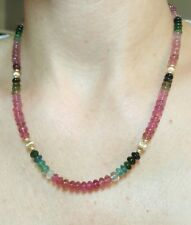 Big Watermelon pink green smooth cut 108ct Tourmaline solid 14k gold necklace