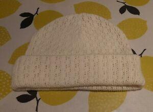 John Lewis Knitted Style Cream Beanie Hat 100% Acyrlic Never Worn