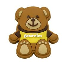 Brownie Pin Badge Wearing Brownie T-Shirt. OFFICIAL SUPPLIER.