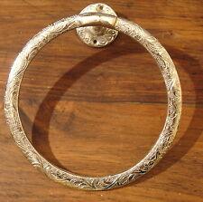 Moroccan brass  hand engraved heavy round towel holder