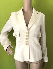 Etro Milano White Textured Linen Blazer/Jacket - Size 42 - US Size 8 - EUC