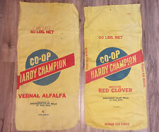 Vtg Yellow Woven Cotton 60 Lb Co-Op Hardy Champion Clover Alfalfa Seed Sack Bags