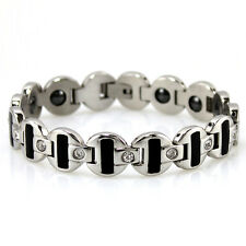 Womens Titanium Power Healing Crystal Magnetic  Bracelet Wristband Balance Energ