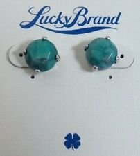 Hot! New!  Lucky Brand Gold Tone Turquoise Semi-Precious Stud Earrings