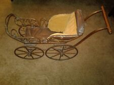 Antique doll carriage circa 1880-metal wheels,corduroy & leather inlay-Stunning!