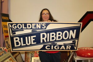 "Large Vintage 1930's Golden's Blue Ribbon Cigar Tobacco Gas Oil 36"" Sign NICE"