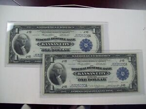 1918 $1 Kansas City  National Currency Note  (2 notes)