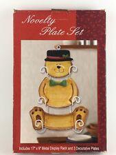 Bear Decorative Plate Set Christmas Holiday Metal Display Rack Wall Hanging Hat