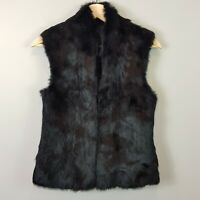 [ DAVID LAWRENCE ] Womens Black Rabbit Fur Vest / Jacket | Size AU 8 or US 4