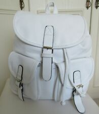 large bright white faux leather backpack/adjustable straps/silver fixings,Mirano