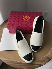 Tory Burch Black & White Colorblock Slip-on Leather Sneakers 7.5 New in Box