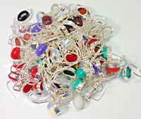 HIGH QUALITY LOT ! 200pcs Mix Gemstone Earrings Lot 925 sterling Silver Overlay