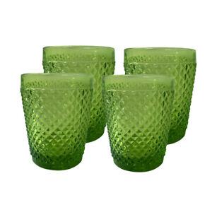 Diamond Drinking Glass Vintage Drinkware Tumbler cap7.5 oz Solid Green set of 4