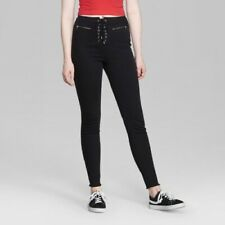 Women's High-Rise Lace-Up Waist Skinny Jeans - Wild Fable Black Wash 4 Short