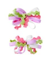 GYMBOREE BIRTHDAY SHOP RIC RAC RIBBON HAIR BARRETTES 2-ct NWT