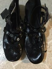 ZARA BLACK LEATHER BALLET FLATS WITH STRAPS AND STUDS SIZE US 7.5