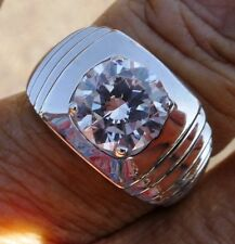 3 ct Brilliant Men's Bling Ring Top Vintage CZ Sterling Silver Size 8