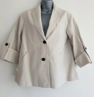 JIGSAW Women's Cream Cotton Mix Long Sleeve Jacket. Size UK 14.