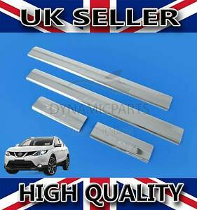 CHROME DOOR SILL SCRATCH PROTECTOR GUARD S.STEEL FOR NISSAN QASHQAI J11 2013>