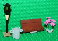 Lego Reddish Brown Bench With Flowers, Bin & Lamp post NEW!!!