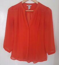 H&M Womens Orange Coral Sheer Button Shirt Top Blouse Pleated 3/4 Sleeve Size 6