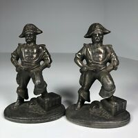 "Vintage Pair Of Pirate Themed Cast Iron Bookends 5.75"" Tall 2 lbs Each Nautical"