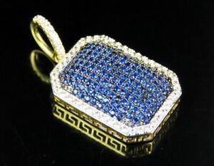 Men's 3ct Blue Sapphire & Sim Diamond Dog Tag Pendant 14k Yellow Gold FN Silver