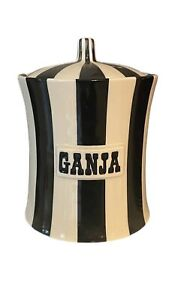 Jonathan Adler Vice Canister GANJA Marijuana Black White Jar Pottery