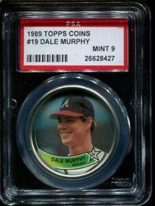 1989 Topps Coins #19 - Dale Murphy - PSA 9 Mint - Low Pop