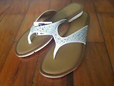 New SKECHERS Glitz & Glam White Thong Flip Flops Bling Glitter Sz 11