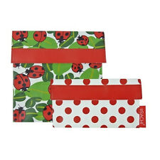 NEW Sachi Lunch Pockets Set - SANDWICH & SNACK - Reusable Lunch Bags - Ladybug