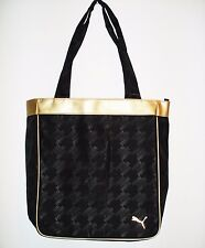 PUMA Gym Zip SPORT Shoulder PURSE Bag BLACK Gold