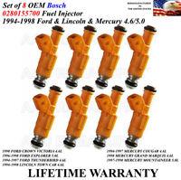OEM Bosch Set Of 8 Fuel Injectors For 1996-1998 FORD EXPLORER 5.0L