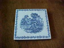 SQUARE PORCELAIN TEA TILE TRIVET BLUE AND WHITE DEPICTING SEASIDE VILLAGE