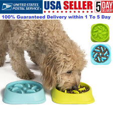 Pet Bowl Dog Cat Interactive Slow Food Feeder Round Feed Dish 2 colors Us