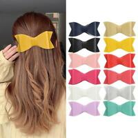 Cute Hair Clips Bow Girl PU Leather Cartoon Hairpin Accessories Girl Gifts 2020