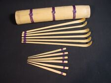 Cocktail Bar Set Bamboo Stirrers & Picks Vintage Japanese with Case