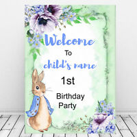 Peter Rabbit 1st Birthday-Welcome Sign Print-Babies Birthday Party Decor