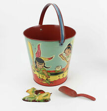 Vintage 1930s Child's Beach Pail, Indian Theme, by T. Cohn, Brooklyn NY