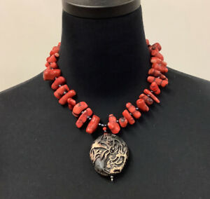 """Chunky Red Coral Cinnabar Necklace  20"""" Hematite Beads"""