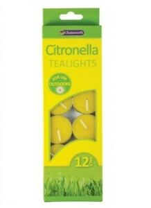 Chatsworth Pack Of 12 Citronella Tealight Candles Outdoor Insect Repellent