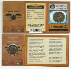 2006 TV 50YEARS - UNC $1 COIN CANBERRA 'C' M/M RAM FOLDER AUSTRALIA.