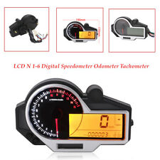 9-16V Motorcycle LCD N 1-6 Digital Speedometer Tachometer Oil Instruments Sensor